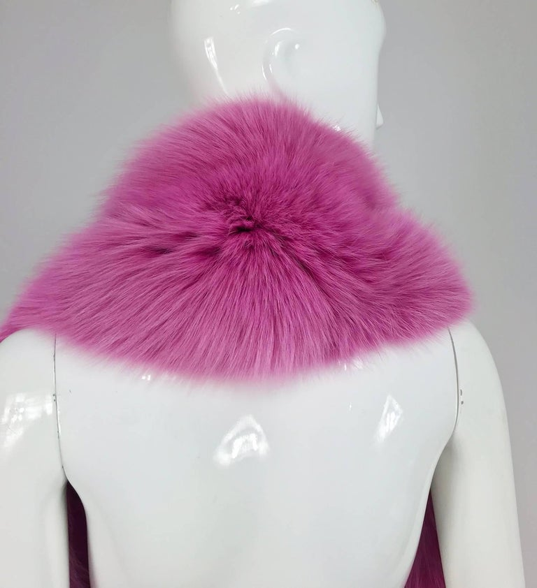 Hot Pink fox fur stole with tails 1980s 6