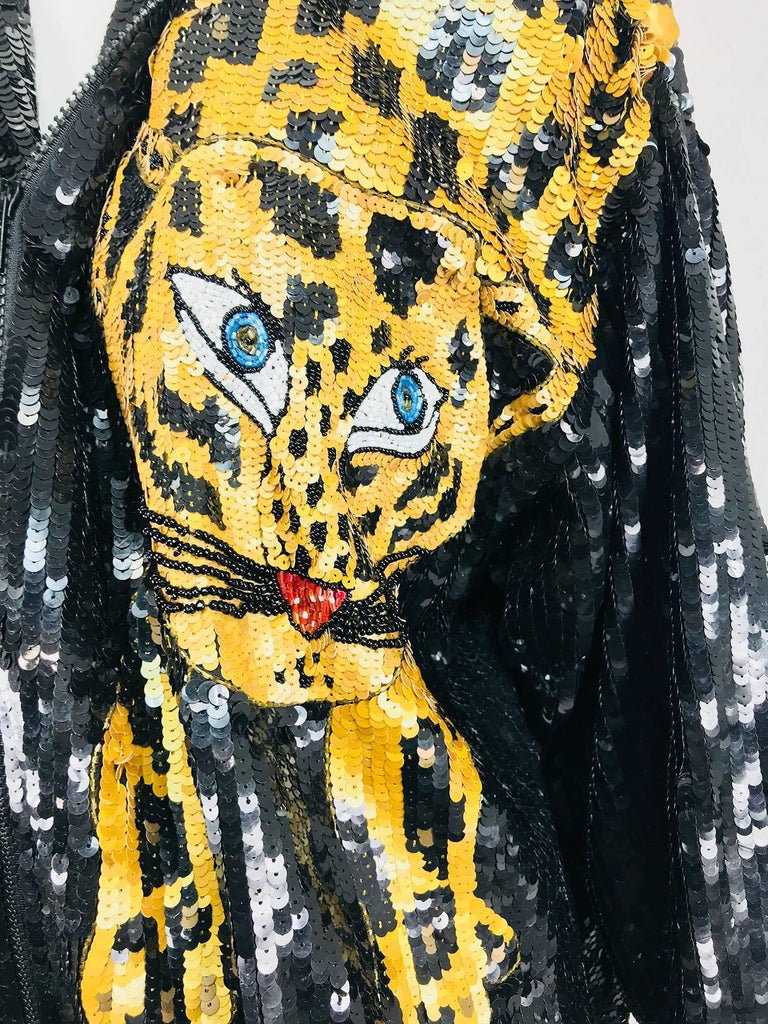 Modi Novelty Sequined Leopard Bomber jacket 1980s 2