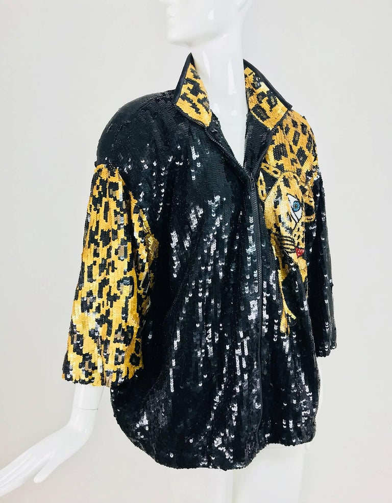 Modi Novelty Sequined Leopard Bomber jacket 1980s 3