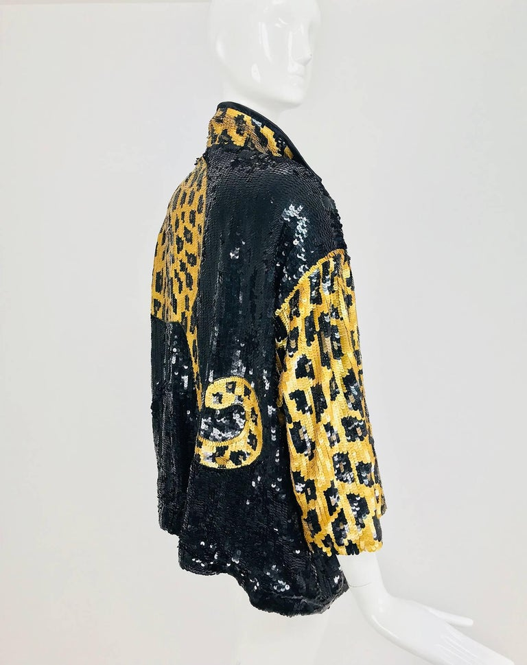 Modi Novelty Sequined Leopard Bomber jacket 1980s 4