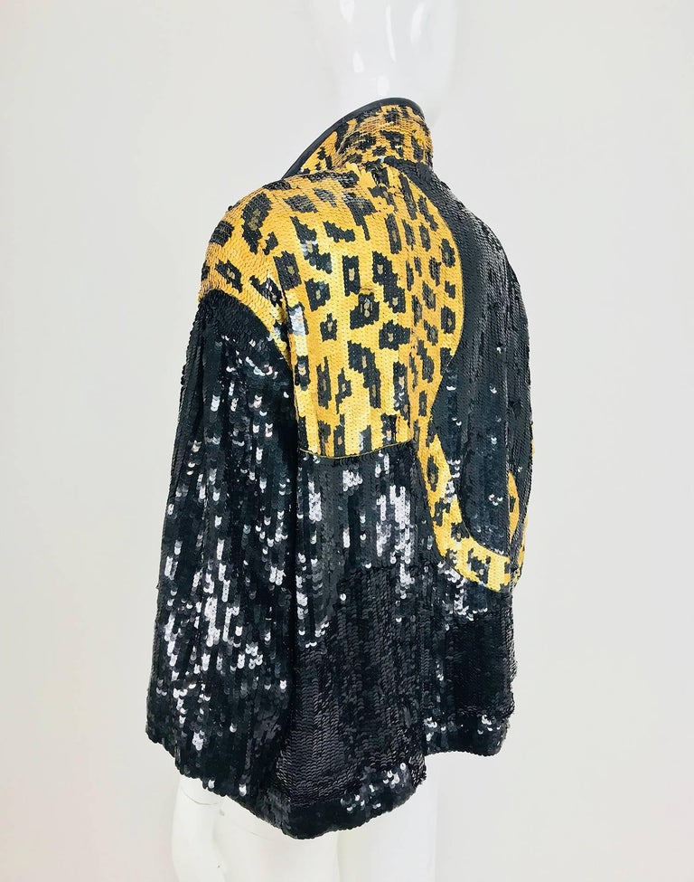 Modi Novelty Sequined Leopard Bomber jacket 1980s 6