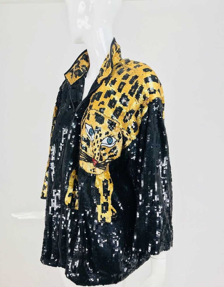 Modi Novelty Sequined Leopard Bomber jacket 1980s 8