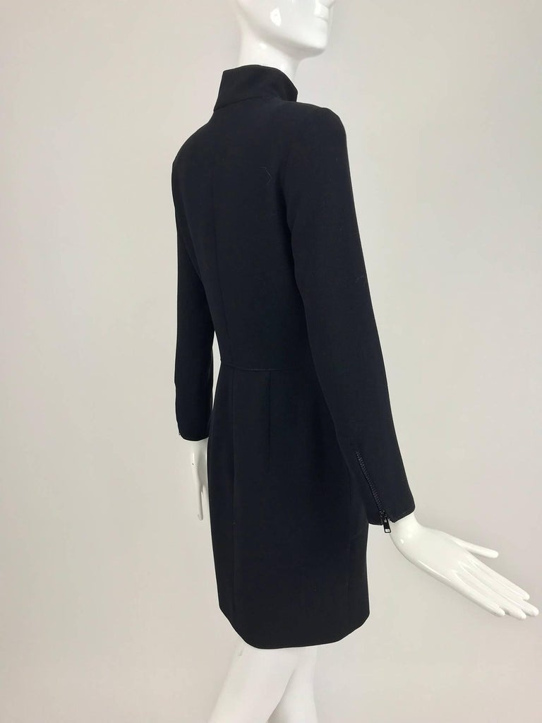 Black Valentino Vintage fitted black wool twill big zipper dress 1990s  For Sale
