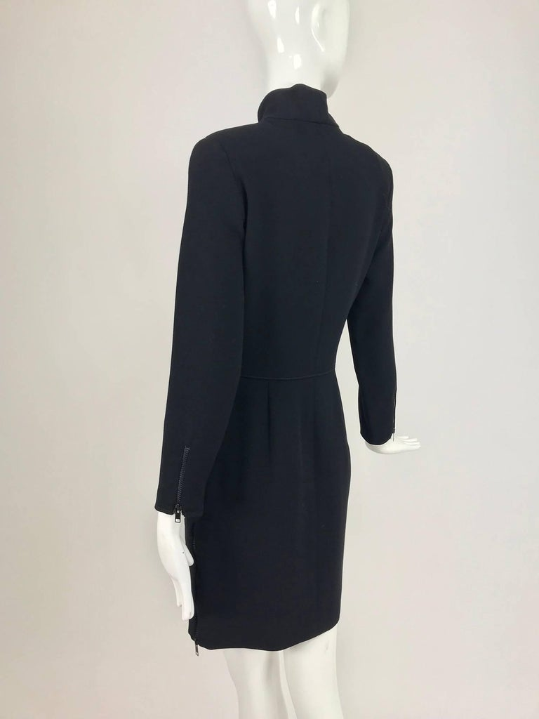 Women's Valentino Vintage fitted black wool twill big zipper dress 1990s  For Sale