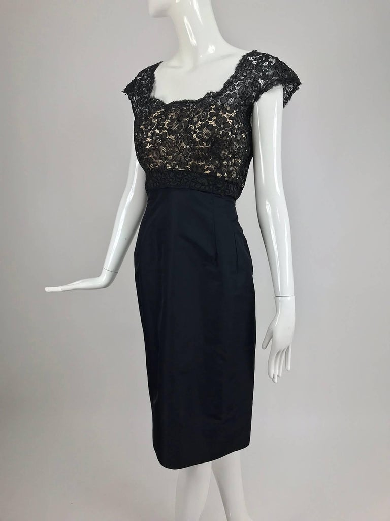 Black Vintage 1950s black silk and Guipure lace cocktail dress larger size For Sale