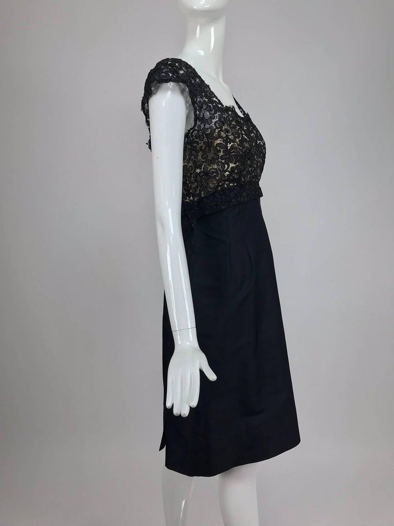 Vintage 1950s black silk and Guipure lace cocktail dress larger size In Excellent Condition For Sale In West Palm Beach, FL