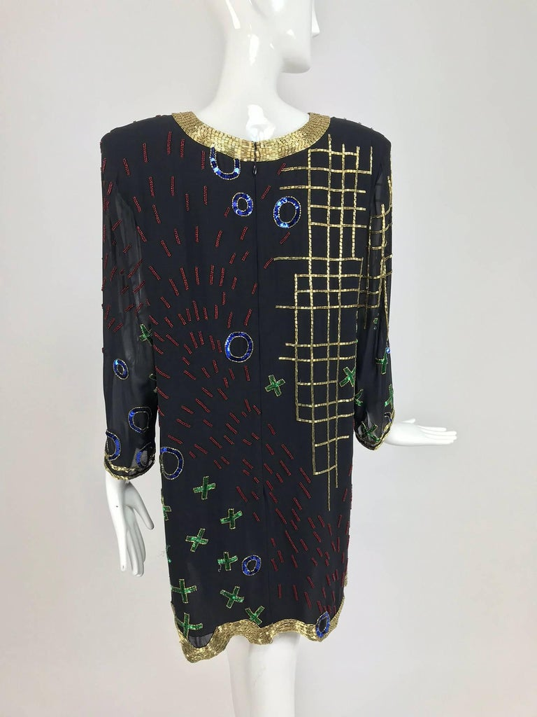 Fabrice abstract beaded silk chiffon cocktail dress 1980s In Excellent Condition For Sale In West Palm Beach, FL