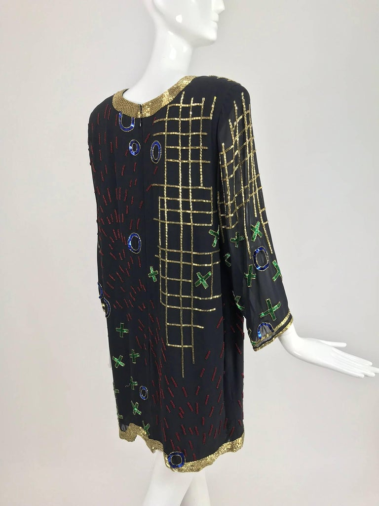Women's Fabrice abstract beaded silk chiffon cocktail dress 1980s For Sale
