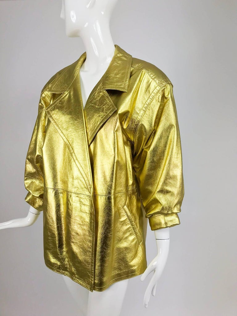Brown Lillie Rubin gold leather jacket 1980s For Sale