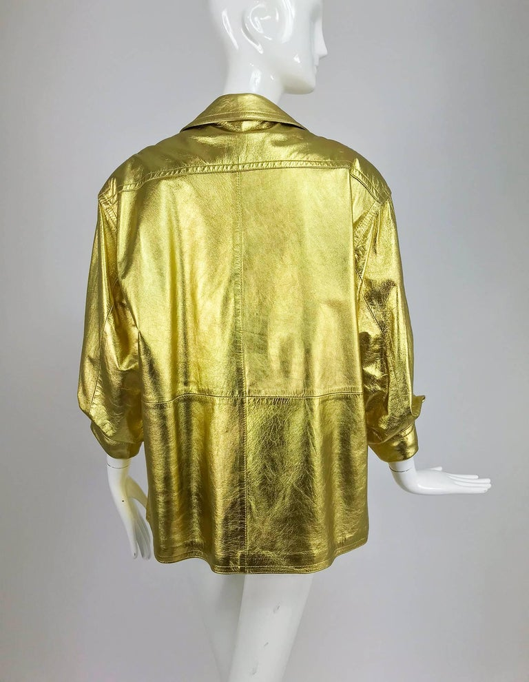 Lillie Rubin gold leather jacket 1980s In Excellent Condition For Sale In West Palm Beach, FL