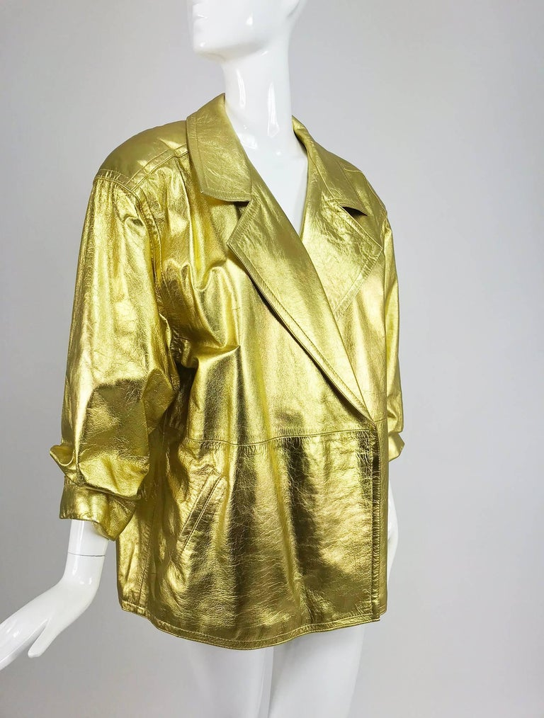 Women's Lillie Rubin gold leather jacket 1980s For Sale
