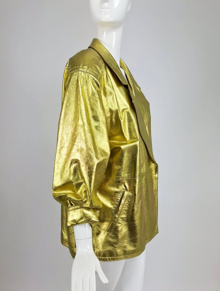 Lillie Rubin gold leather jacket 1980s For Sale 1