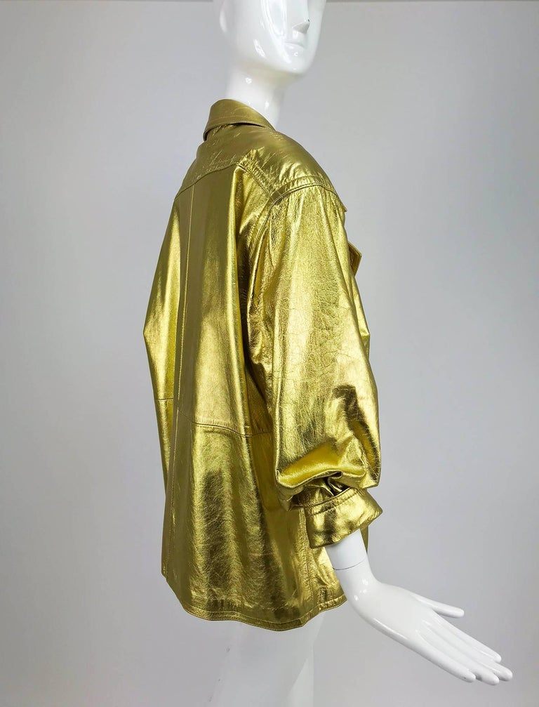 Lillie Rubin gold leather jacket 1980s For Sale 2
