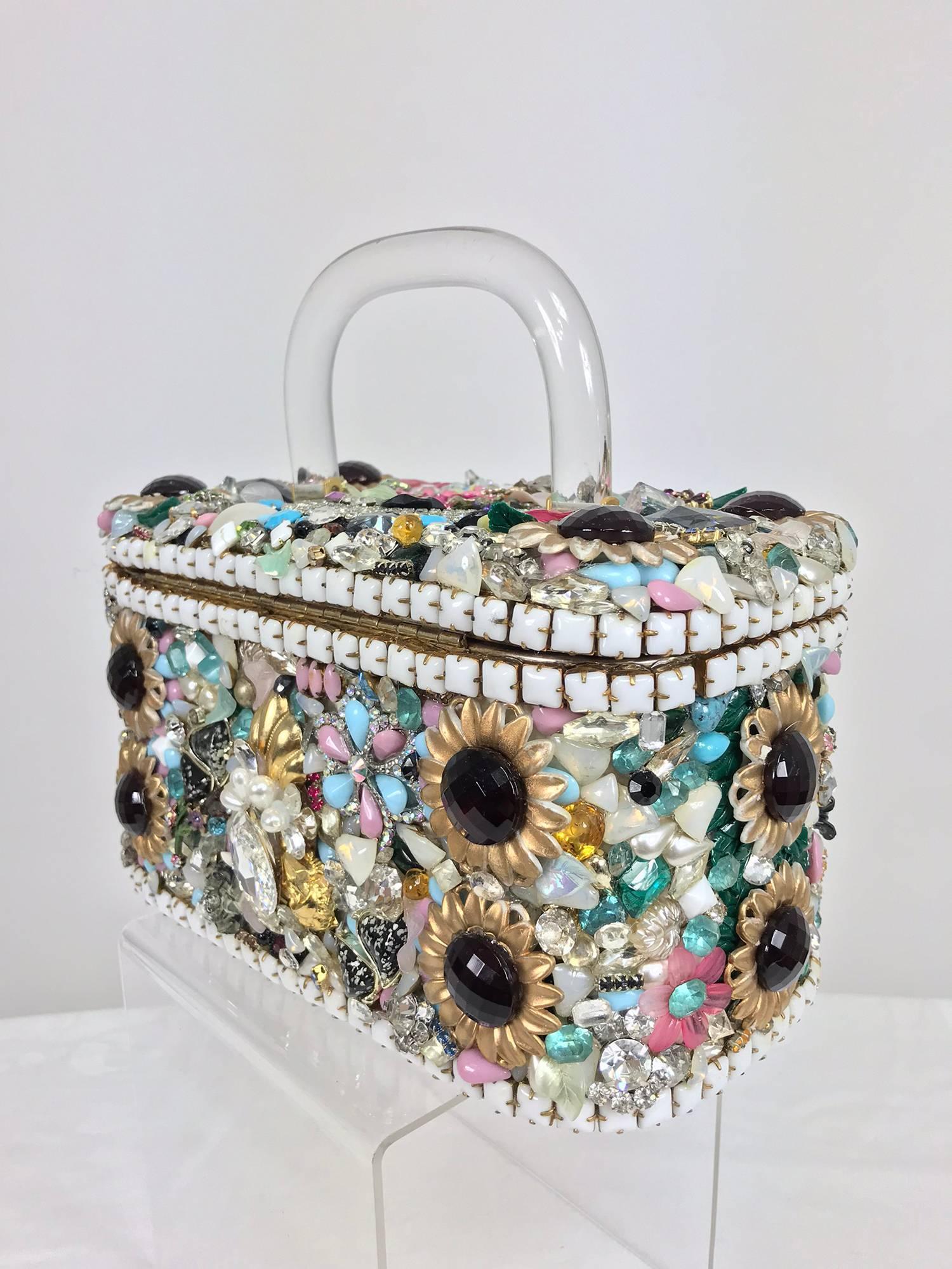 1stdibs Custom Made Jewel Encrusted Lucite Handle Hand Bag 1980s pZu33PsO