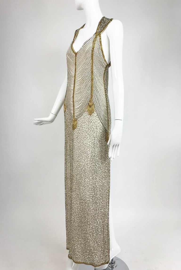 Naeem Khan Raizee cream and gold draped beaded gown 1980s For Sale ...