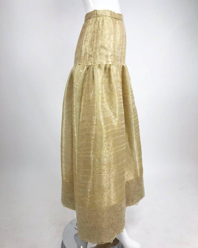 Brown Emanuel Ungaro Studio Couture gold spun silk organza evening skirt For Sale