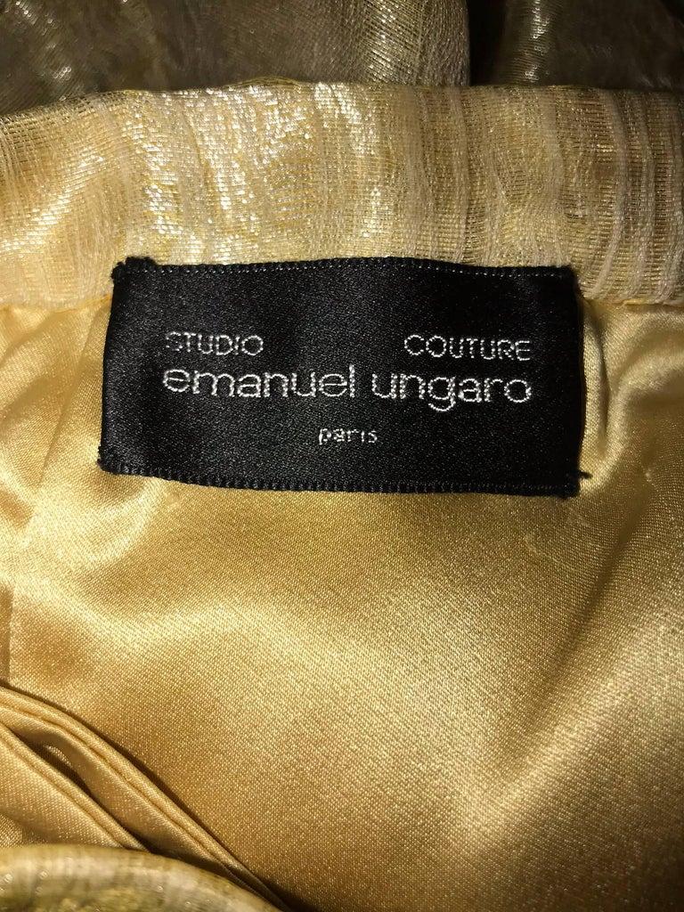 Emanuel Ungaro Studio Couture gold spun silk organza evening skirt For Sale 3