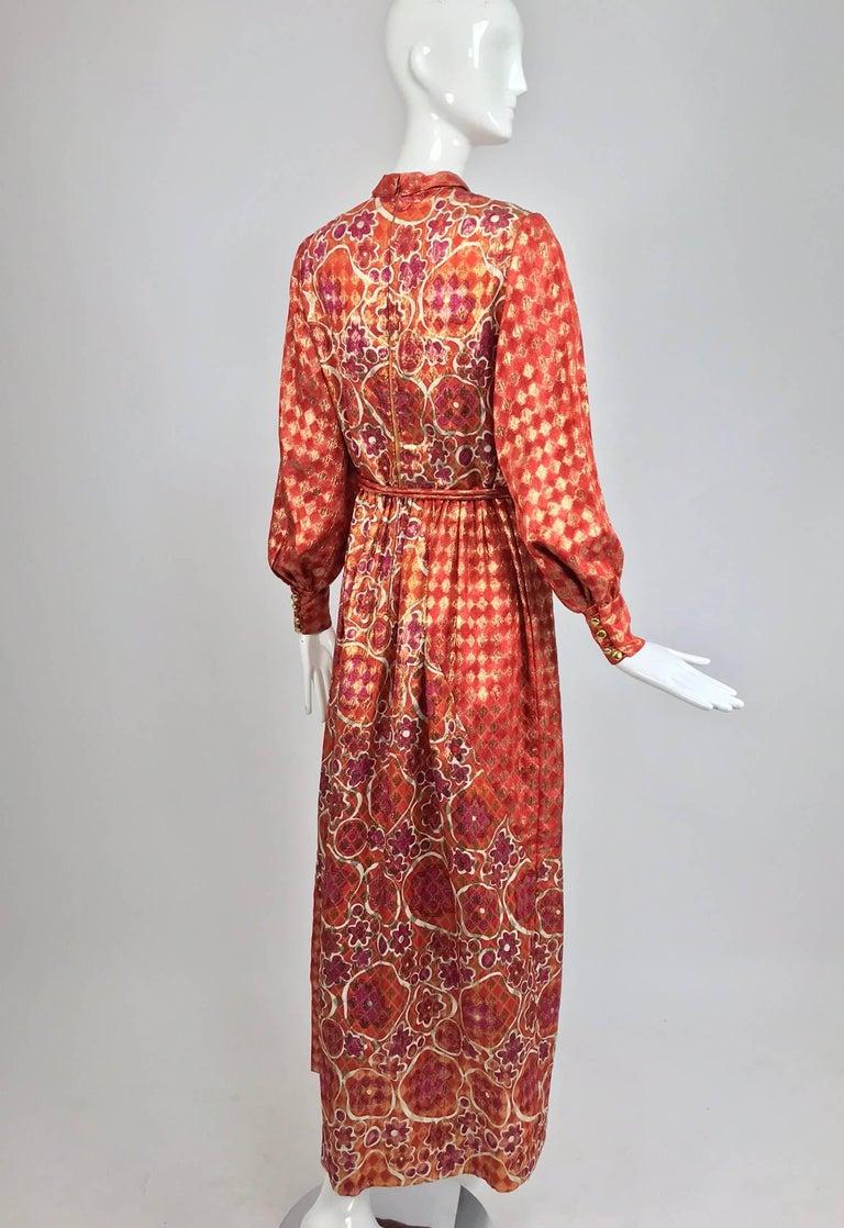Dior Boutique Paris by Marc Bohan numbered 1960s metallic brocade maxi dress  6