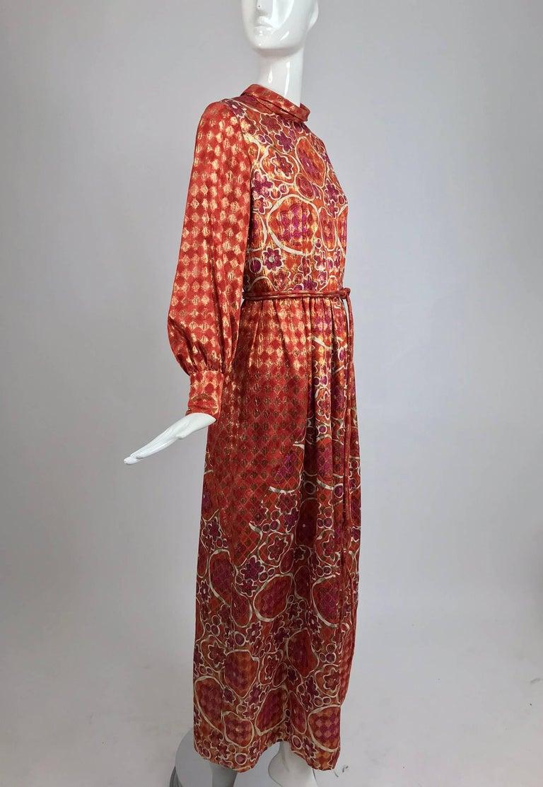 Dior Boutique Paris by Marc Bohan numbered 1960s metallic brocade maxi dress  7