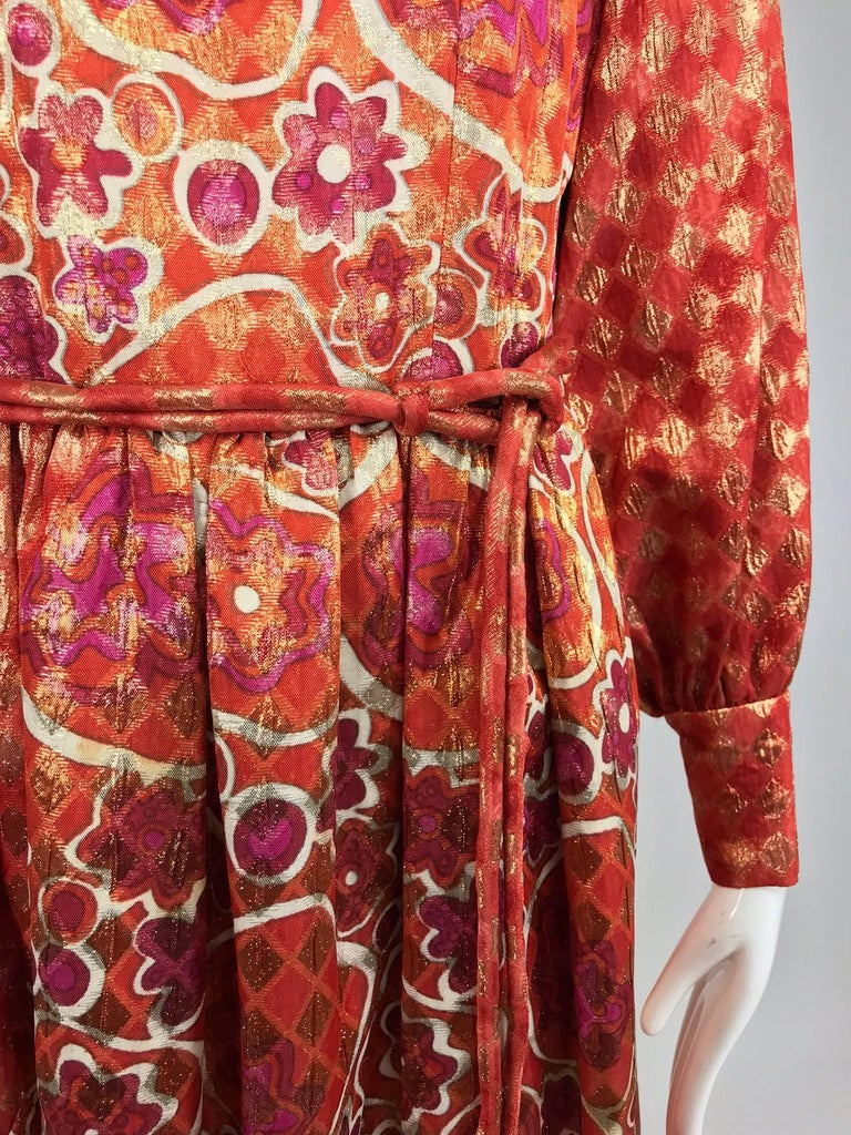 Dior Boutique Paris by Marc Bohan numbered 1960s metallic brocade maxi dress  9