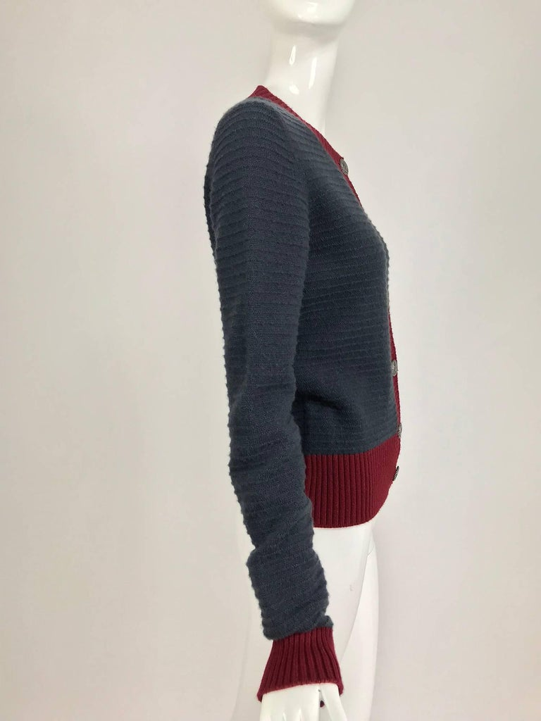 Black Chanel grey and wine cashmere cardigan sweater For Sale