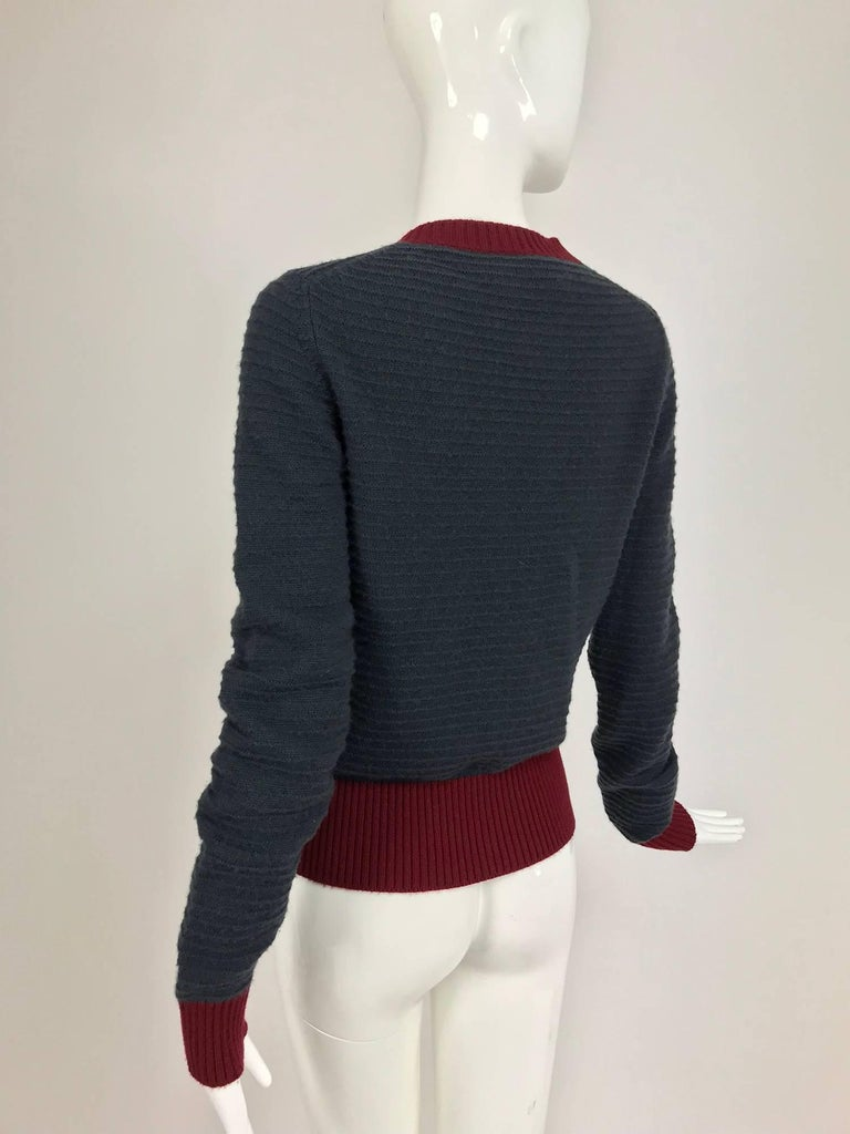 Women's Chanel grey and wine cashmere cardigan sweater For Sale