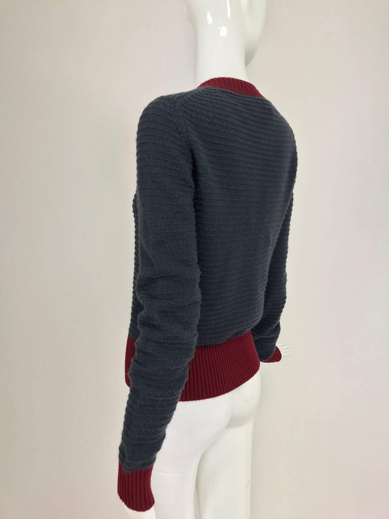 Chanel grey and wine cashmere cardigan sweater For Sale 1