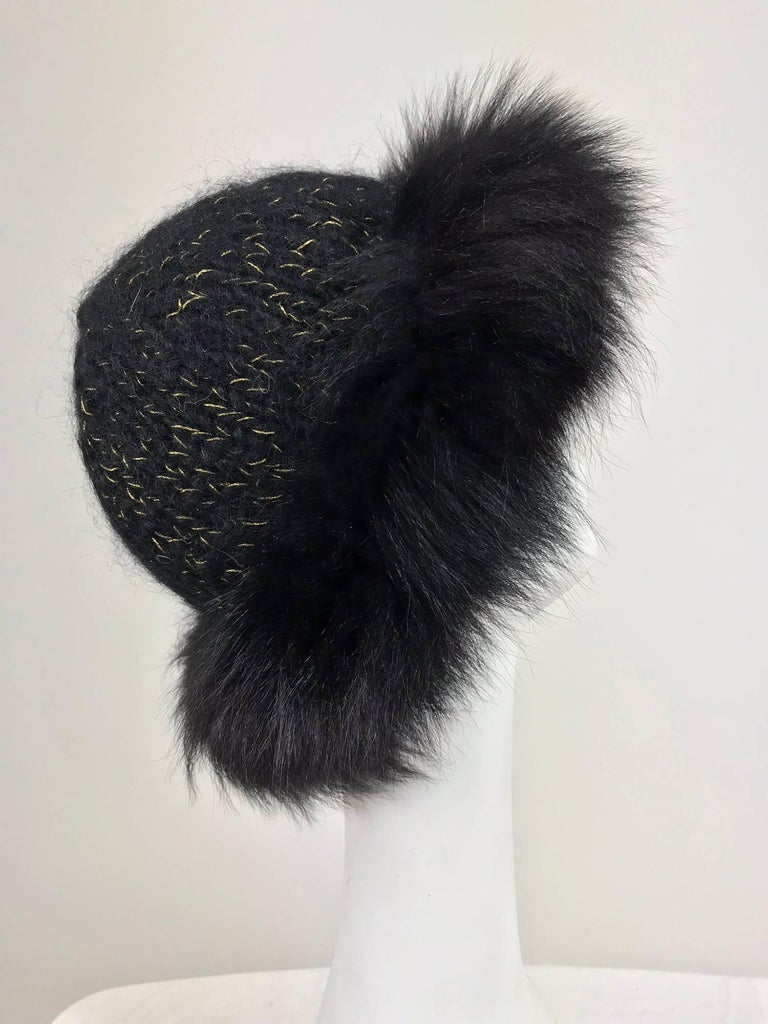 Lillie Rubin black fox fur and metallic knit hat 1970s In Excellent Condition For Sale In West Palm Beach, FL