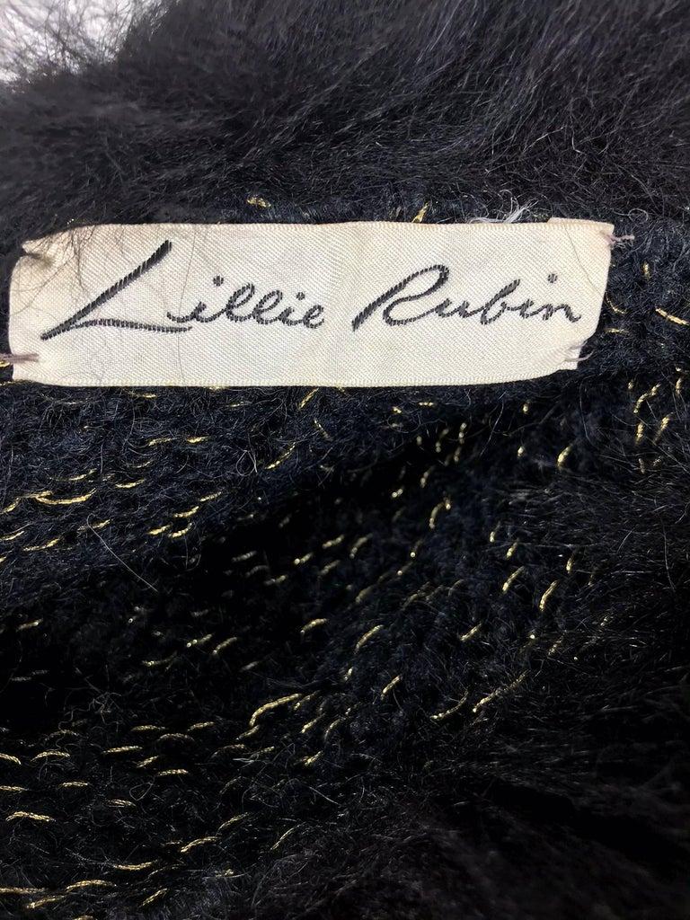 Lillie Rubin black fox fur and metallic knit hat 1970s For Sale 1
