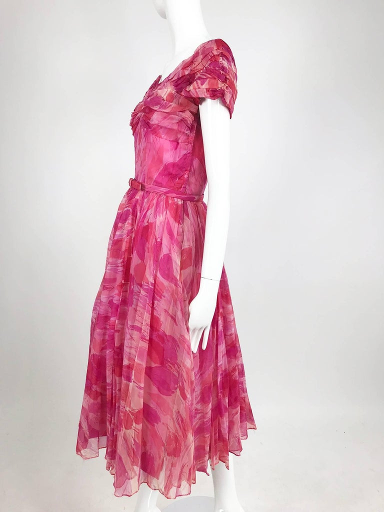 Pink Hot pink modernist floral print off the shoulder early 1960s organza dress For Sale