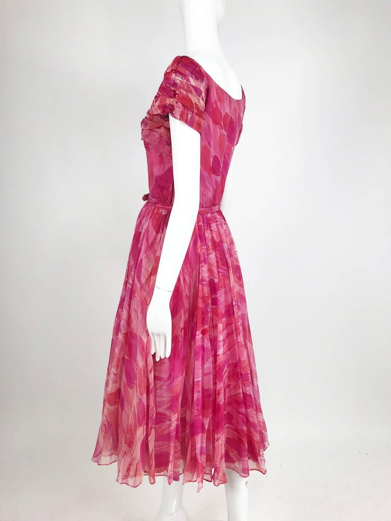 Women's Hot pink modernist floral print off the shoulder early 1960s organza dress For Sale