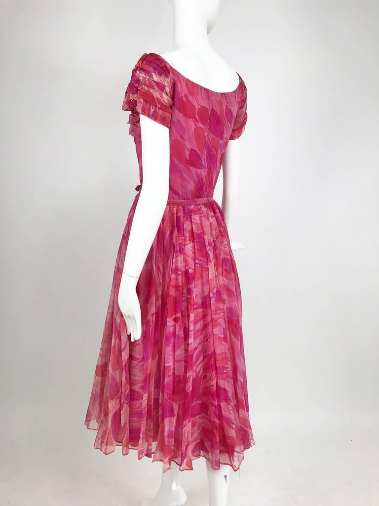 Hot pink modernist floral print off the shoulder early 1960s organza dress For Sale 1