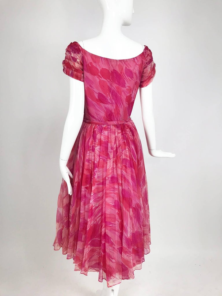 Hot pink modernist floral print off the shoulder early 1960s organza dress For Sale 2