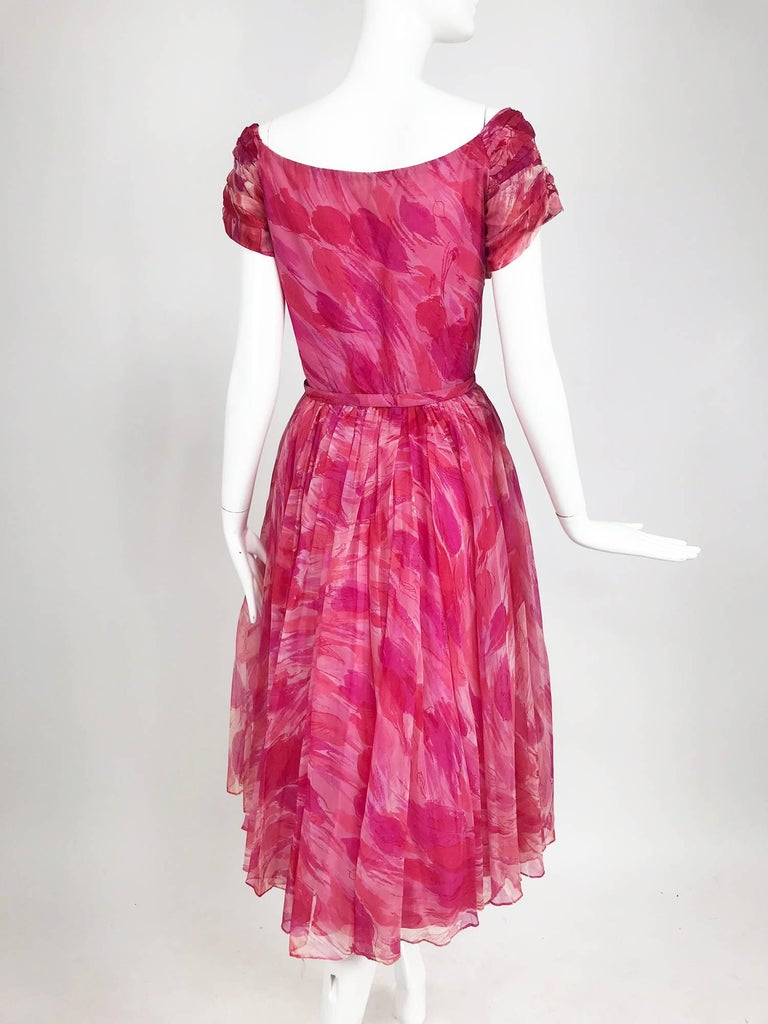 Hot pink modernist floral print off the shoulder early 1960s organza dress For Sale 3