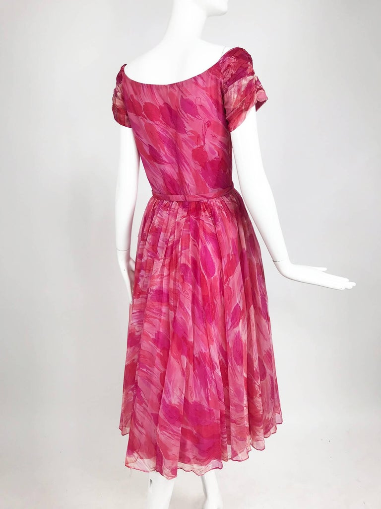 Hot pink modernist floral print off the shoulder early 1960s organza dress For Sale 4