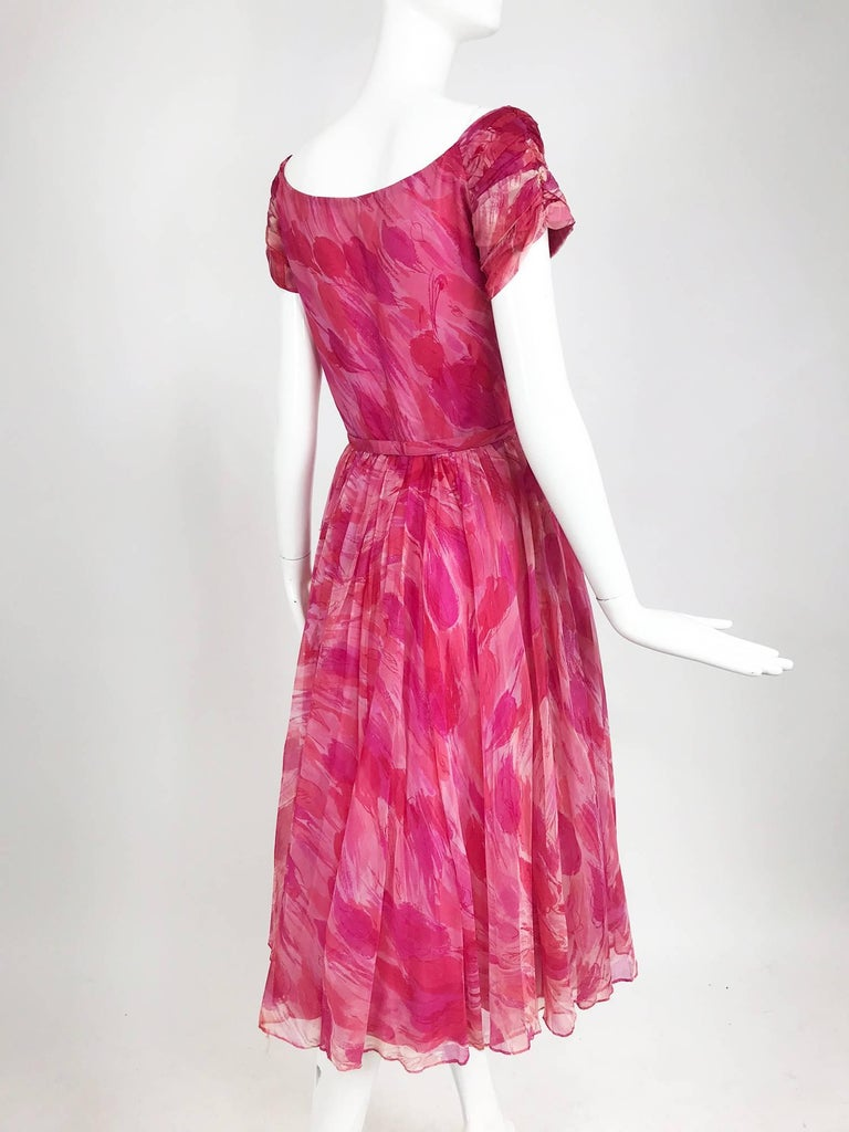 Hot pink modernist floral print off the shoulder early 1960s organza dress For Sale 5
