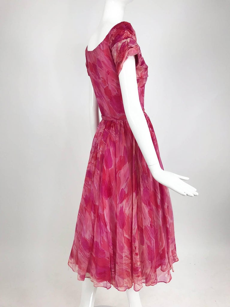 Hot pink modernist floral print off the shoulder early 1960s organza dress For Sale 6