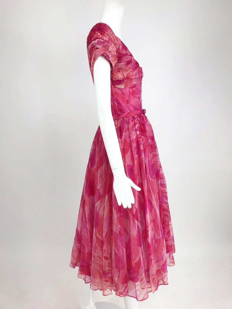 Hot pink modernist floral print off the shoulder early 1960s organza dress For Sale 7