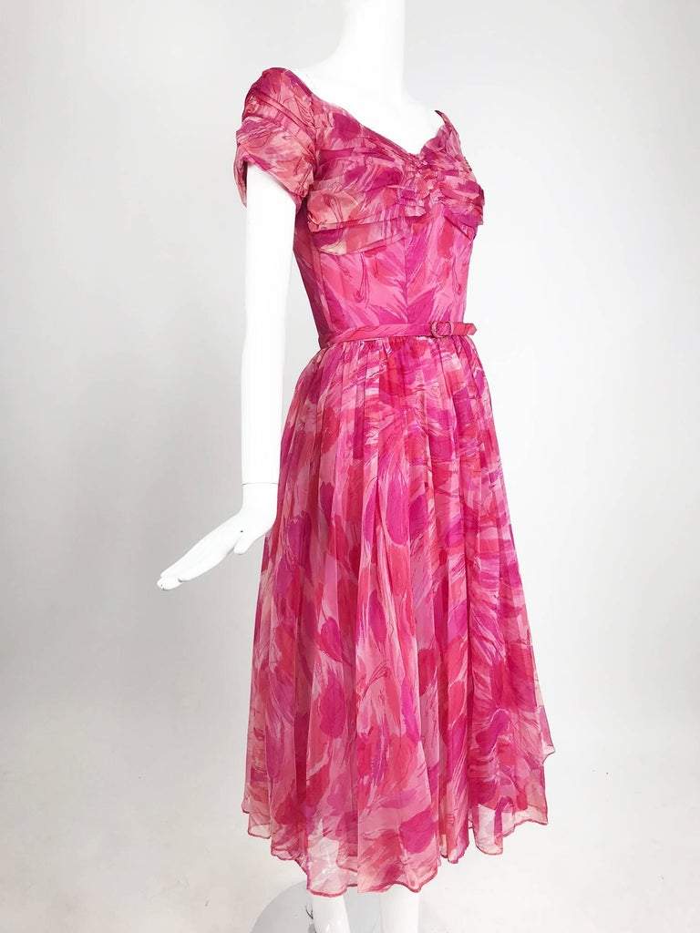 Hot pink modernist floral print off the shoulder early 1960s organza dress For Sale 8