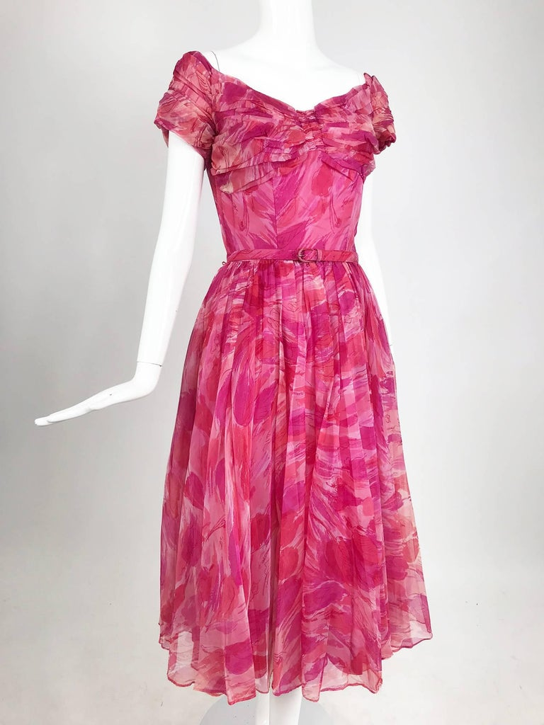 Hot pink modernist floral print off the shoulder early 1960s organza dress For Sale 9