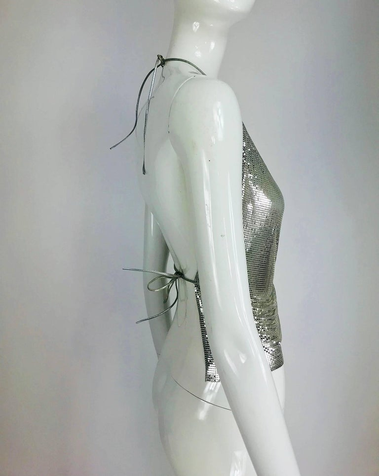 Whiting & Davis silver metal mesh halter top, 1970s For Sale 2