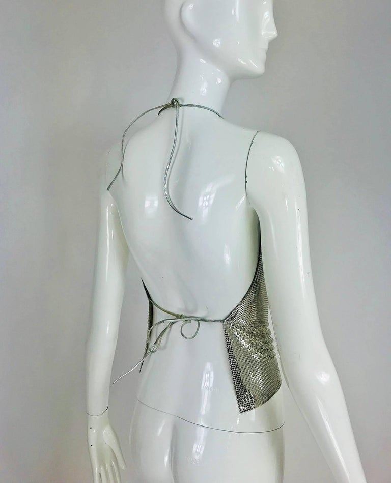 Whiting & Davis silver metal mesh halter top, 1970s For Sale 3