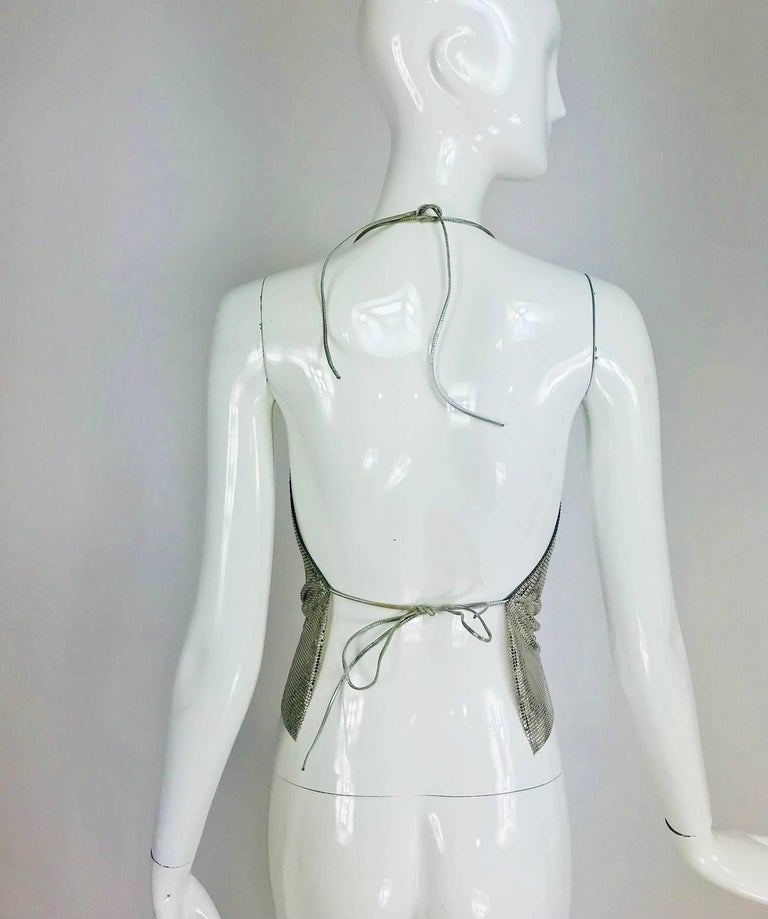 Whiting & Davis silver metal mesh halter top, 1970s For Sale 4