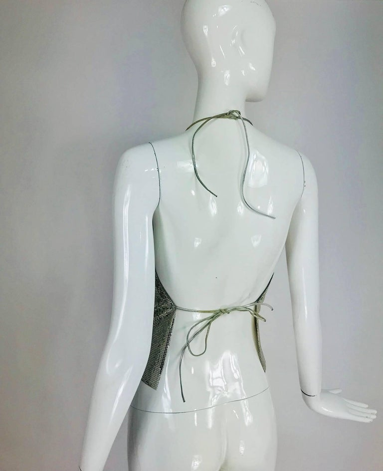 Whiting & Davis silver metal mesh halter top, 1970s For Sale 5