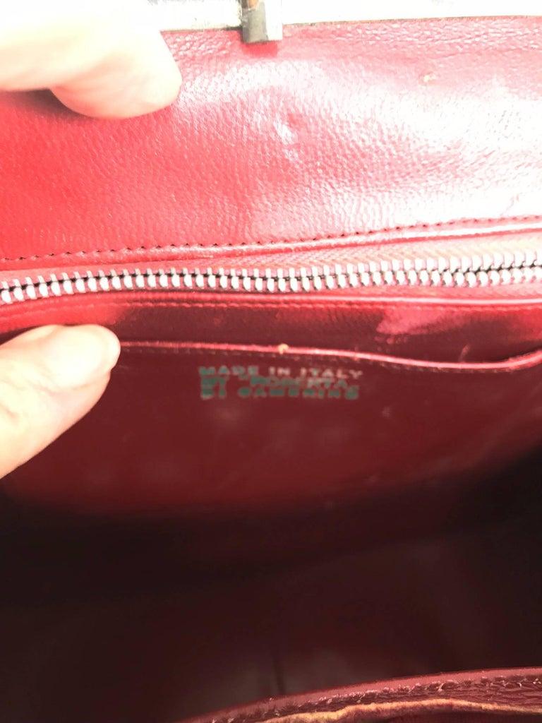 Roberta di Camerino red silk cut velvet metal frame handbag  For Sale 3