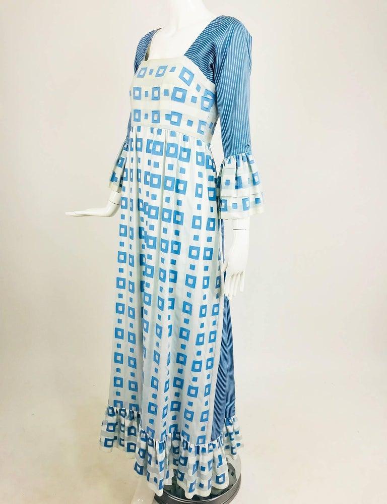 Blue Tina Leser Original blue and white cotton maxi dress 55c36aeb1