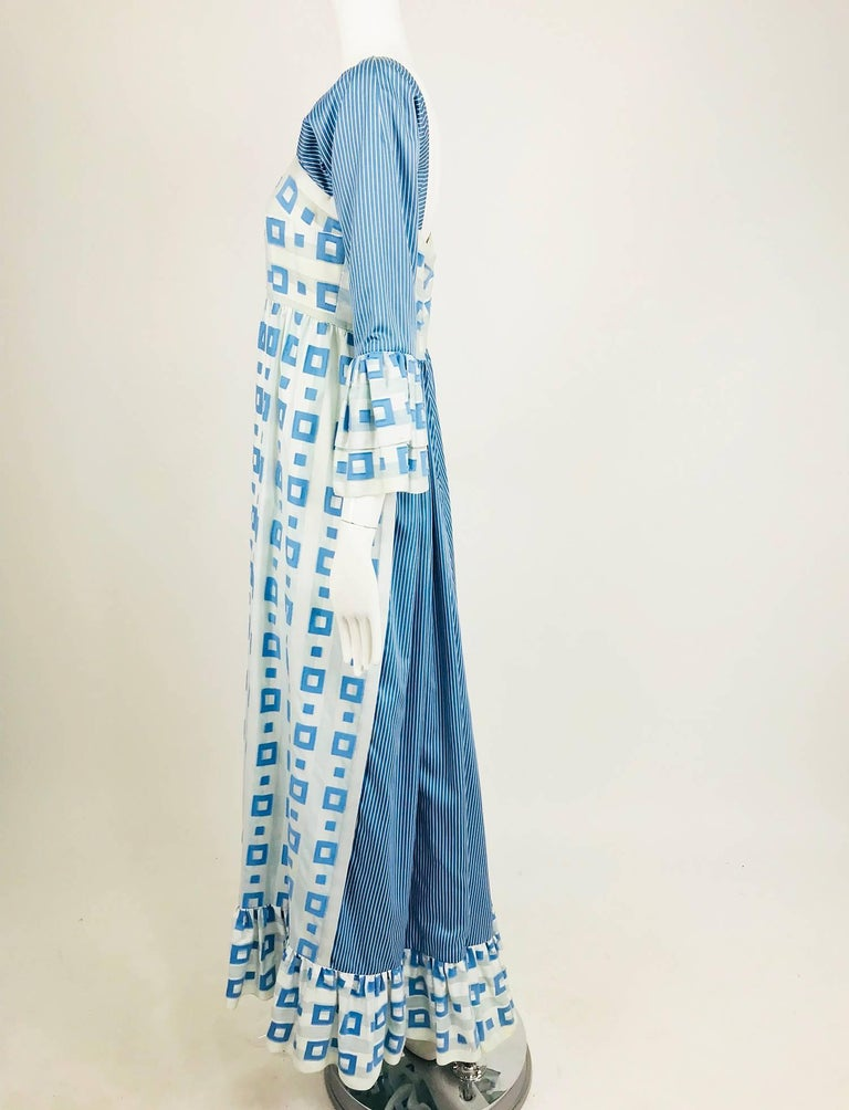 Tina Leser Original blue and white cotton maxi dress, 1960s In Excellent Condition For Sale In West Palm Beach, FL