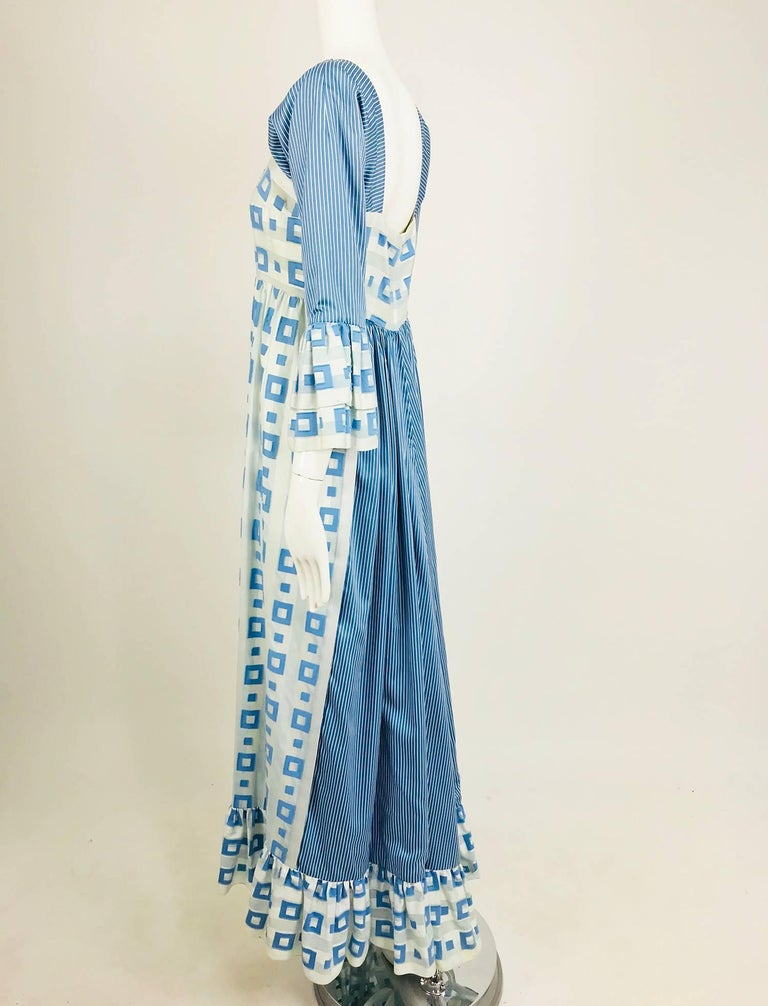 Women's Tina Leser Original blue and white cotton maxi dress, 1960s For Sale