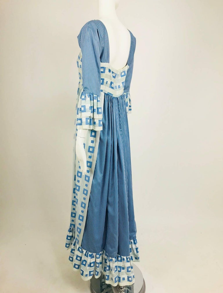 Tina Leser Original blue and white cotton maxi dress, 1960s For Sale 1