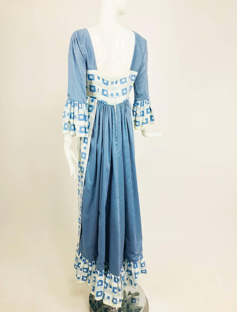Tina Leser Original blue and white cotton maxi dress, 1960s For Sale 2